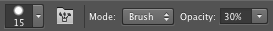 Eraser tool with 30% opacity