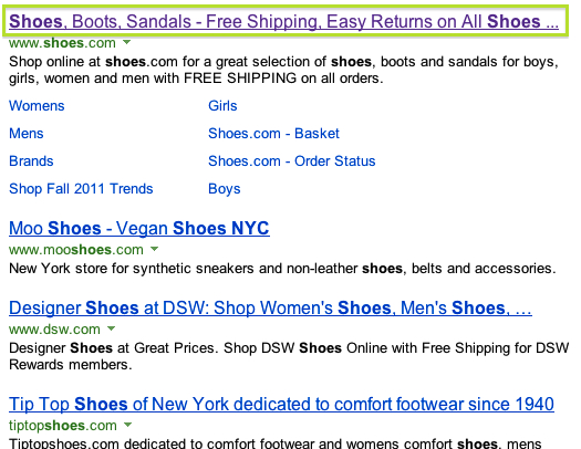 Bing search results title highlighted