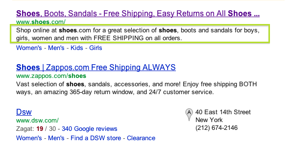 Google search results description highlighted