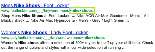 Google search results with an SEF URL in bold font
