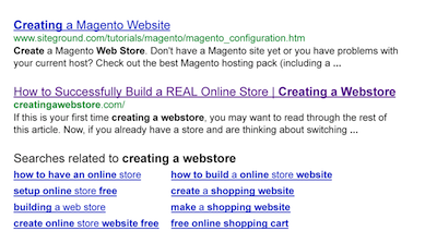 Google name search for creating a webstore closeup