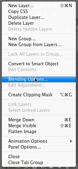 Click on blending options