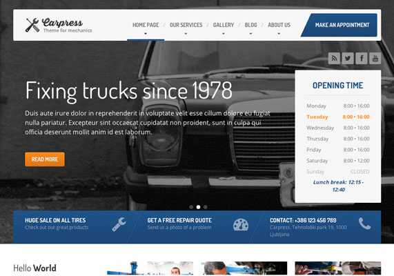 Premium WordPress CarPress Responsive Business Theme Screenshot