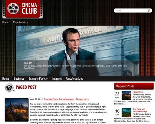 Free WordPress Cinema Club Responsive Theme