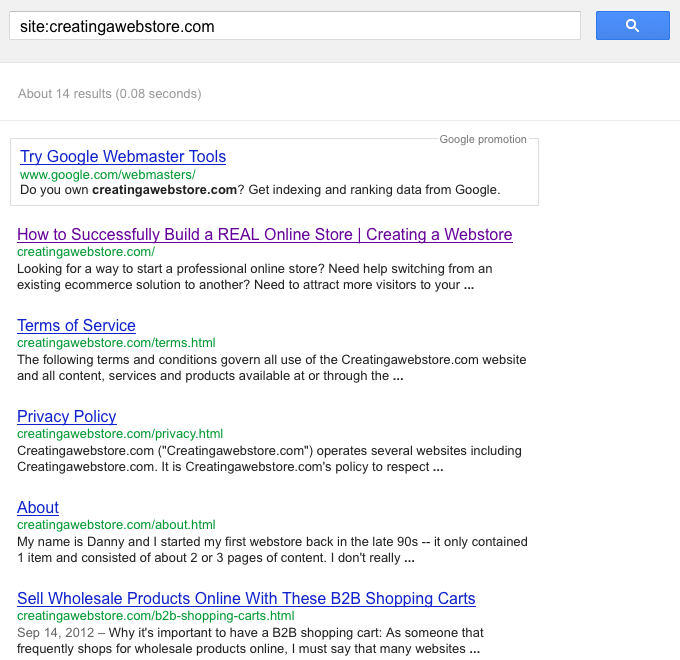 Google site url search for creating a webstore