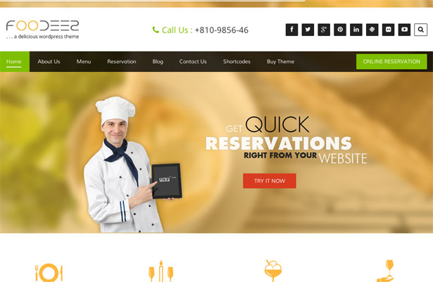 Free Foodeez WordPress Responsive Business Theme Screenshot