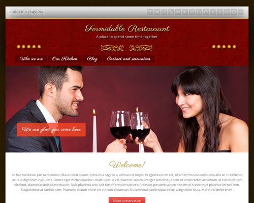 Free Formidable Restaurant Responsive Business Theme Screenshot
