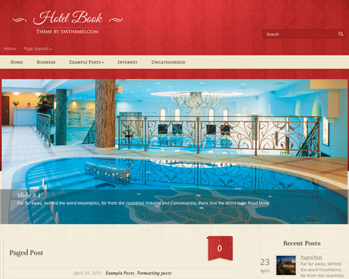 Free WordPress HotelBook Responsive Business Theme Screenshot