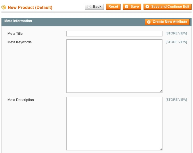 Magento admin panel item meta information