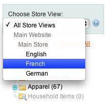 Magento categories store view