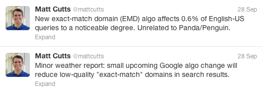 Matt Cutts' tweet about the Google EMD algorithm update