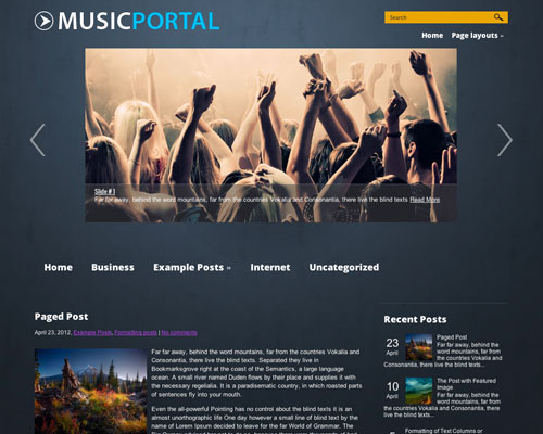 Free WordPress Music Portal Responsive Business Theme Screenshot