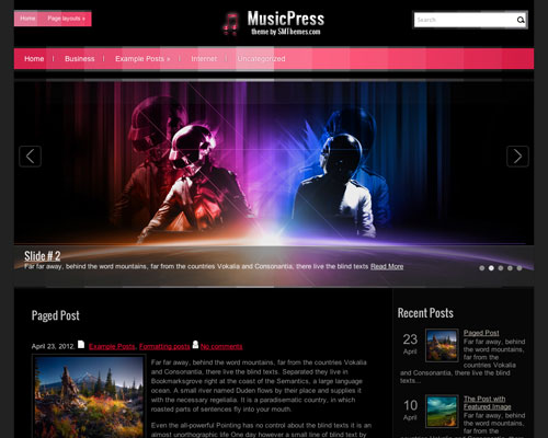 Free WordPress MusicPress Responsive Business Theme