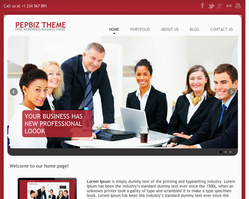 Free PepBiz Responsive WordPress Business Theme Screenshot