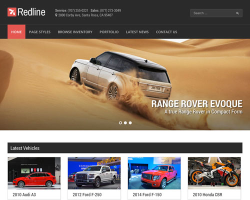 Premium WordPress Redline Car Dealership Responsive Business Theme Screenshot