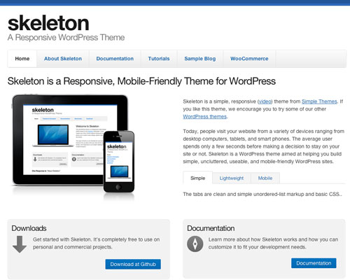 Free Simple WordPress Skeleton Responsive Theme Screenshot