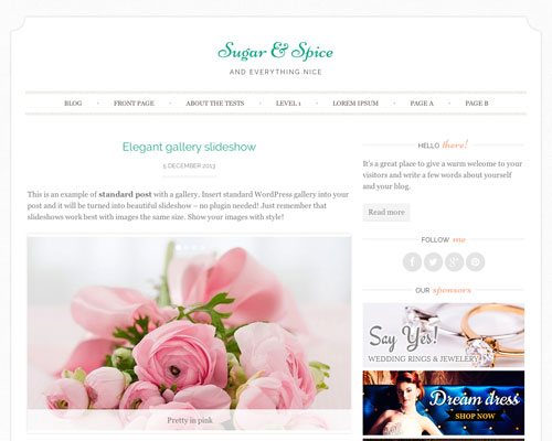 Free Sugar & Spice WordPress Responsive Business Theme Screenshot
