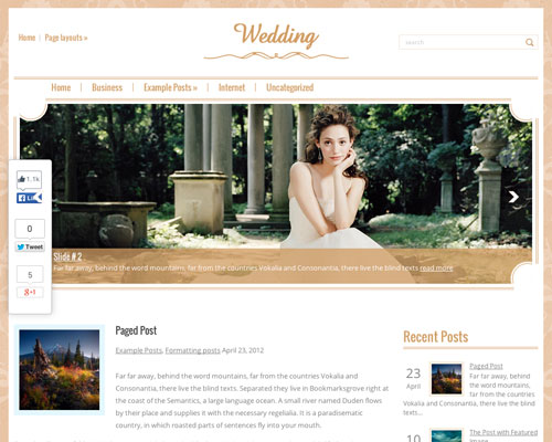 Free Wedding WordPress Responsive Business Theme Screenshot