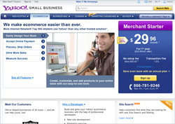 Yahoo small business ecommerce screenshot